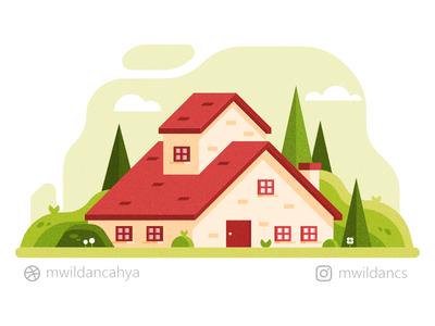 House beside the hill affinity designer vector illustration illustrator concept landscape flat illustration design hill house illustration vector building