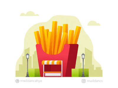 Fries Shop flat madeinaffinity vector illustration flat illustration illustrator creative vector illustration fast food burger restaurant lunch french fries fries