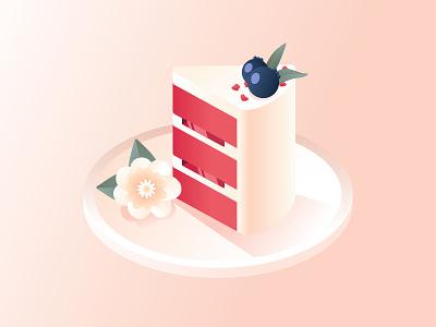 Cake gradients dessert tray food dish plate cream red velvet cake red velvet red piece of pie piece of cake tasty illustration blueberry berry flower pie piece cake