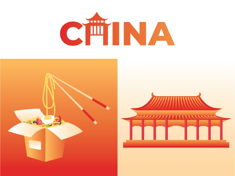 China noodle vector design illustration travel masterpiece building logo food traditional asia china