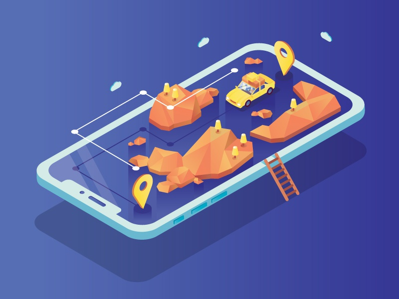Travel guide job work taxi app taxi travel guide gps landscape phone app phone car car app isometric isometry illustration