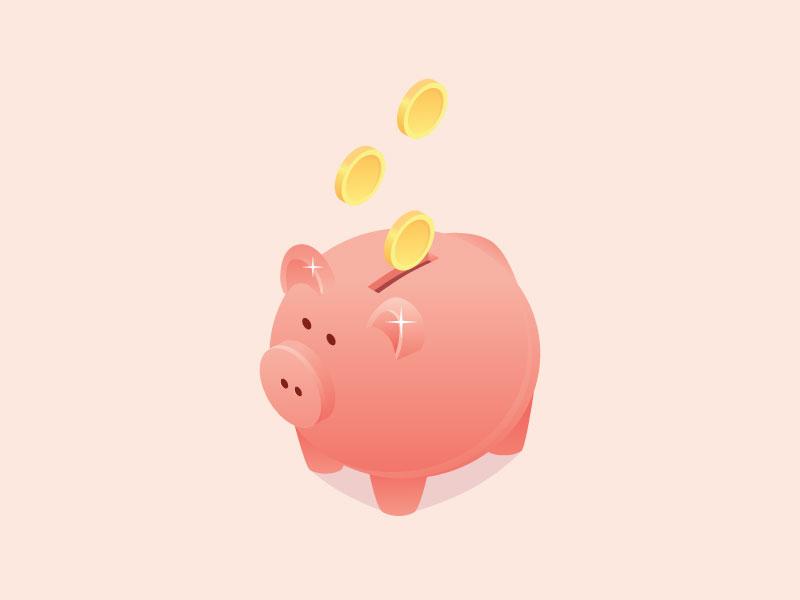 Piggy bank moneybox coral pink isometric isometry illustration bank piggy pig piggy bank