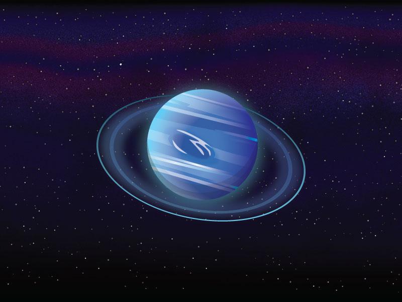 Neptune astronomy shine bright flat stars space planet neptune illustration