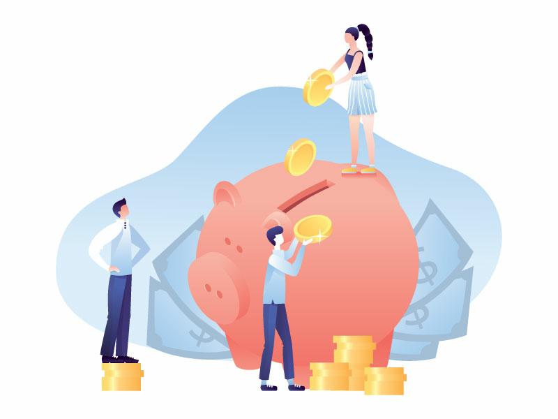The earning money career succes team earning money coins piggy bank money girl flat communication man worker bubble job work people illustration