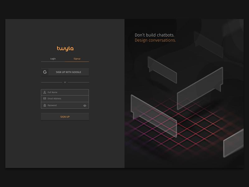 Chatbot Designer Login simple grid artificial intelligence illustration isometric ui darkmode login chatbot ai