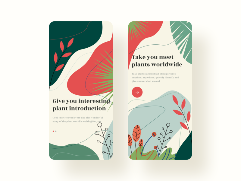 Identify Plants App-Guide Page branding design 插图 ui guide pages app
