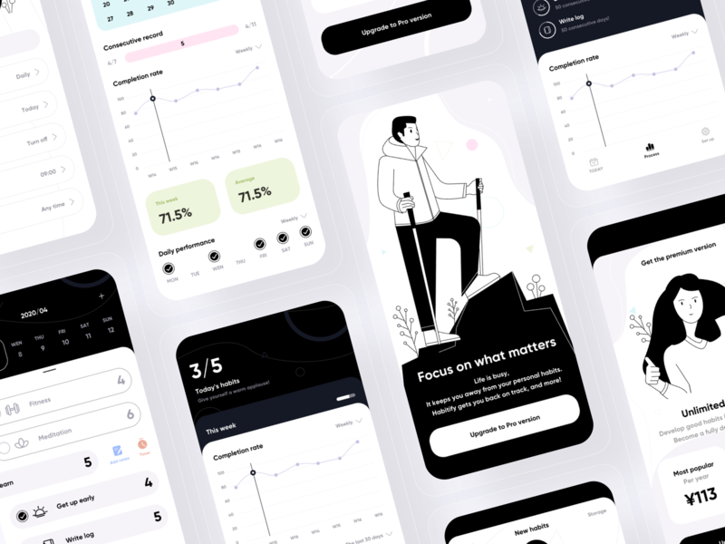 Apps that focus on important things checklist design forest 插图 ui branding
