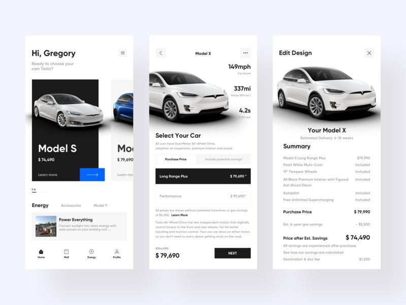 Car app app ui branding design car