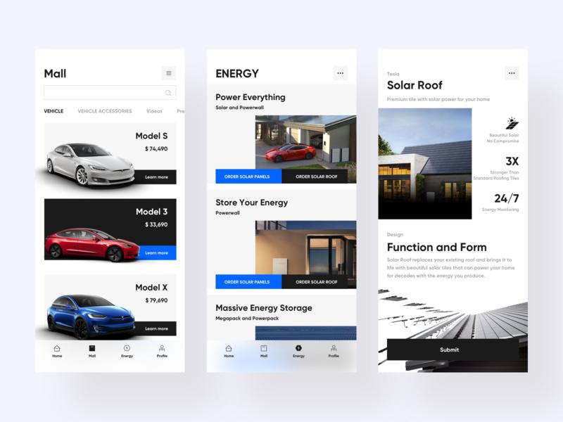 Car app 3 energy tesla app car branding ui