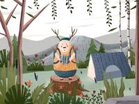 Forest adventure travel illustration