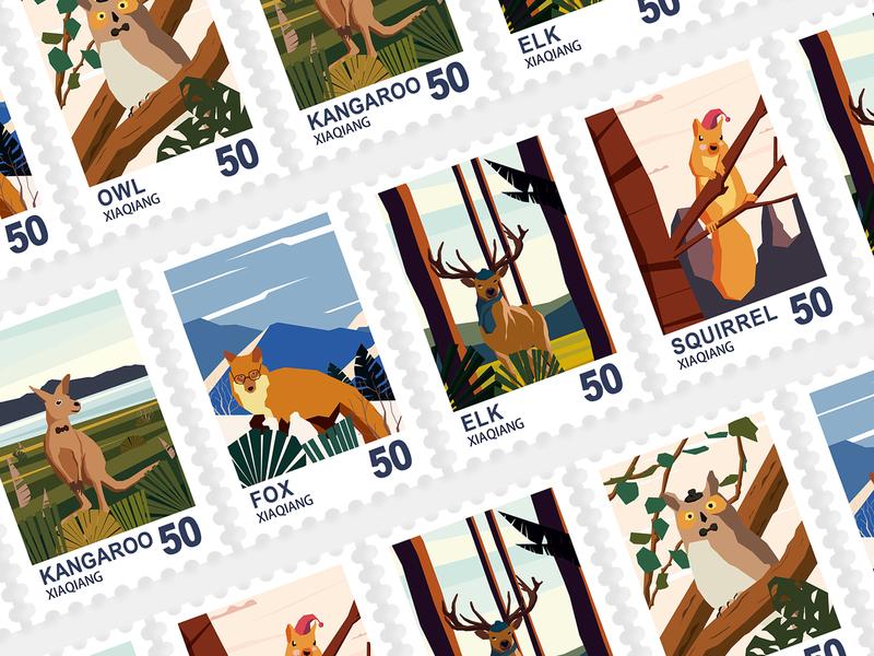 Animal illustration 邮票 animal illustration 插图