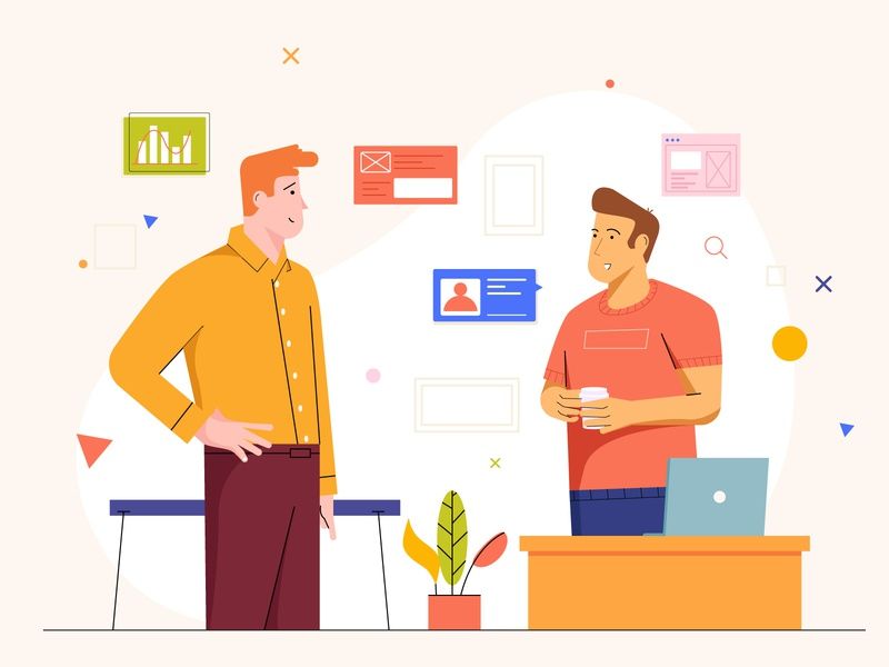 Conversation chat office 设计 conversation chat character illustration business meetings 插图