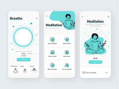Meditation App design ui branding sleep illustration meditation app meditation