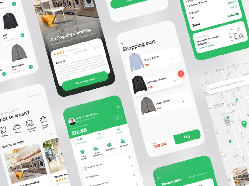 Laundry app design ui branding green app laundry