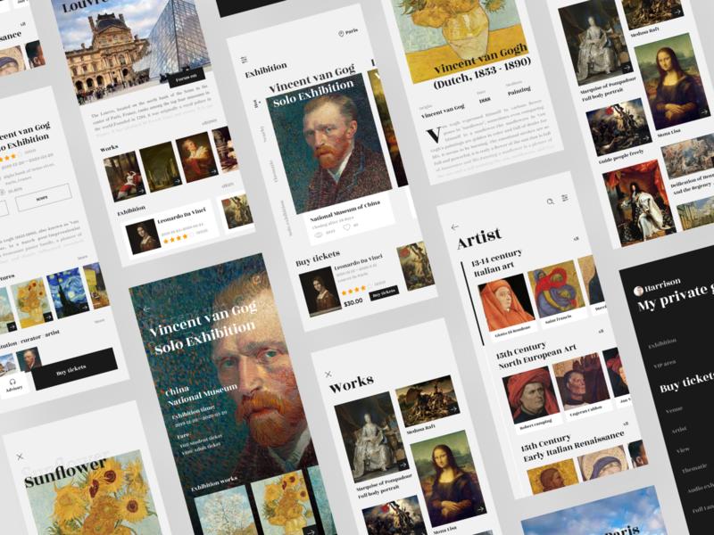 Art gallery app design app ui