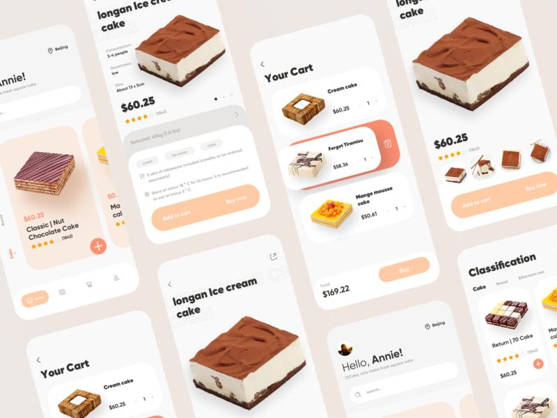 Buy cake app online e-commerce buy app logo ux design ui cake