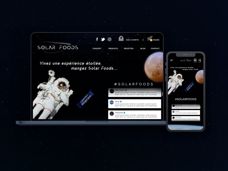 Home page - Solar Foods stars proteins cell smartfood astronaut space nasa solarfoods food solar userinterface userexperience ux ui redesign design mobile smartphone
