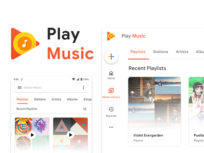 Google Play Music Redesign refresh android web music material design 2.0 ui ux redesign design material design