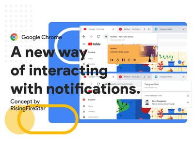 Google Chrome - A new way of interacting with notifications. adobexd concept chrome google ux design material