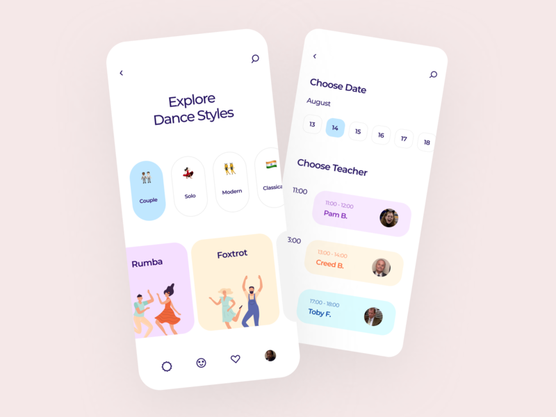 Dance Tutorials health people dancing appointment illustration mobile app interface typogaphy cards design cards ui cards teacher learning dance ios ui flat clean trend minimal