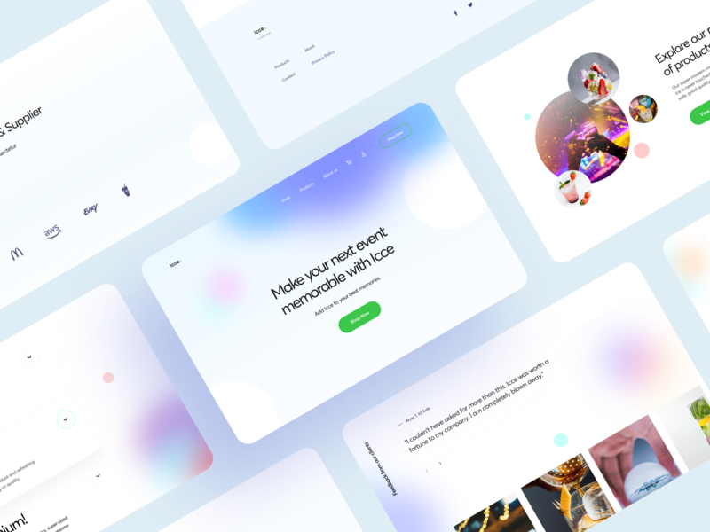 Ecommerce Ice Selling Concept gradient color colorful business ecommerce festive party blur gradient landing web design web concept ui trending modern interface flat typography minimal