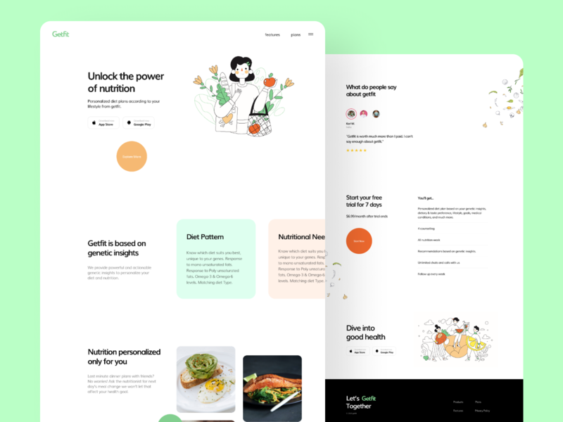 Getfit Website ecommerce plans css hover branding logo landing food concept modern illustration minimal flat ui interface typography diet nutrition health fitness