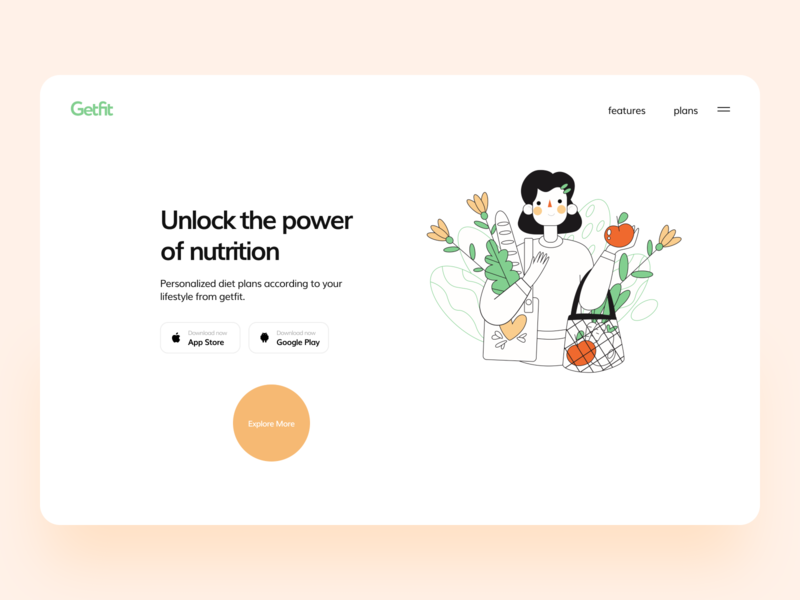 Getfit Landing Page concept coming soon app health nutrition website web dribbble branding logo illustration interface ui flat typography minimal