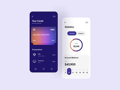 Banking App clean ui ios interface flat ui typography cards dashboard app design mobile ui mobile app gradient blur finance minimal