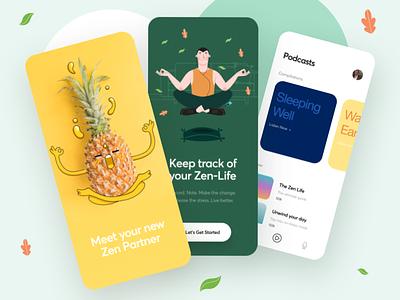 Zen-Life Meditation App focus zen ios mobile ui mobile design pineapple lifestyle peace meditation interface ui typography flat minimal