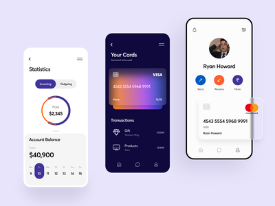 Banking App dashboard statistics card design credit card cards blur payment ecommerce app investment currency online payment banking interface typography flat minimal