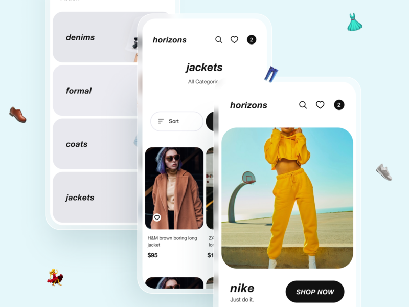 Horizons Shopping App clean ui mobile ui gradient blur design concept mobile app ios interface ui minimal illustration nike categories cart shop ecommerce