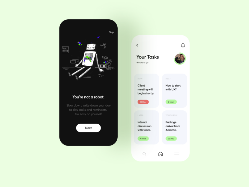 Tasks & Reminders App management tasks ux vector mobile app illustration ui interface typography flat minimal