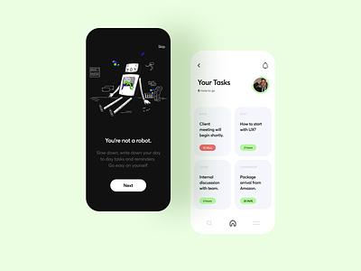 Tasks & Reminders App management tasks ux vector mobile app illustration ui interface typography flat minimal