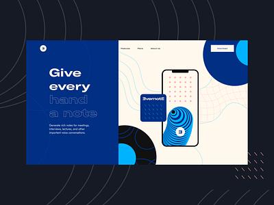 Voice Notes App Landing minimal concept vector app voice notes mobile app illustration interface ui flat design visual identity branding pattern art abstract