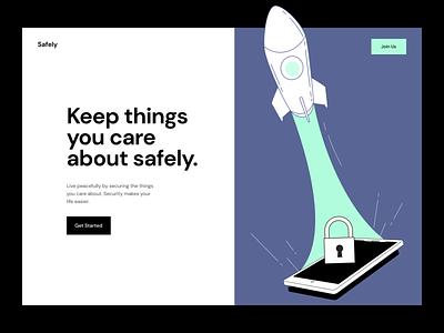 Safely Landing security data shopify store ecommerce homepage landing figma themes branding illustration interface minimal flat webdesign