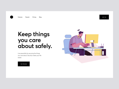 Safely Landing webpage web ui designstudio design agency branding illustration featured trending minimal clean ui stocks ecommerce