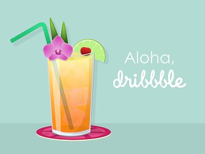 Hello! mai tai orchid sketch debut tropical drink tropical tiki drink vector design vectors