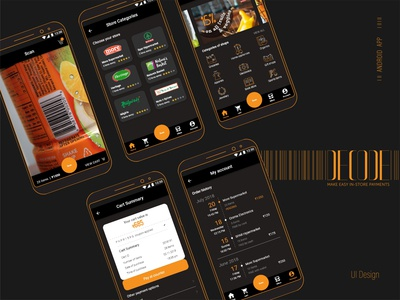 Decode Scanning app blackletter yellow shopping barcode cart android black mobile retail product payment billing instore decode scanning ux vector ui