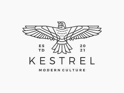 kestrel bird monoline logo ux hipster brand lineart outline line monoline bird kestrel design ui illustration branding logo