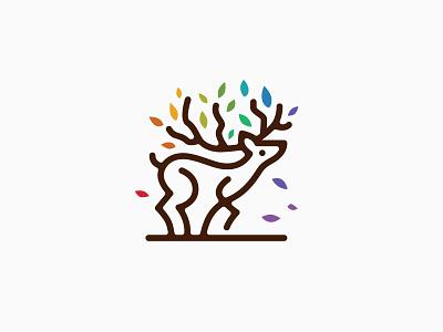 Deer Tree Monoline Logo lineart art line design ui icon vector illustration branding logo outline monoline colorful color leaf tree deer