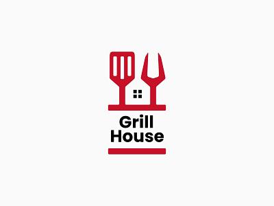 Grill House Logo typography app vector icon design ux ui illustration branding logo food fork spatula restaurant house grill