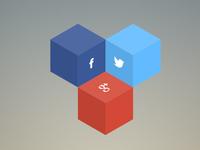 3D Hexagon share button concept