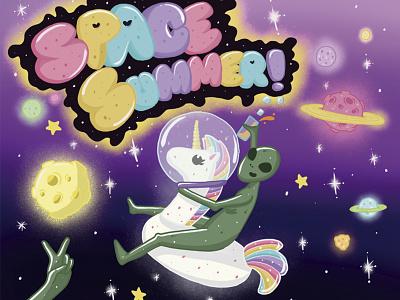 Space Summer happy planets alien summer verano espacio space ilustracion illustration