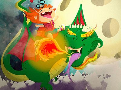 Dragon Ride child dragon childrens book children colorful procreate illustration illustrator