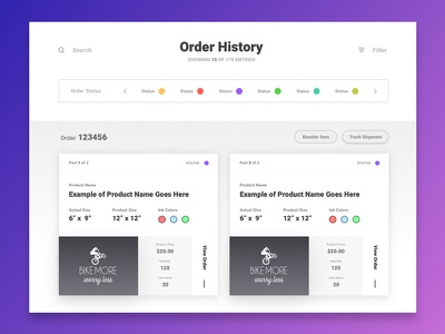 order history [wip] interface design pagination order history minimal modern web ux ui