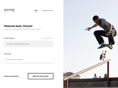 Daily UI #1: Login Form typography user interface design skateboarding trendy minimalistic sign in form daily ui daily ui 001