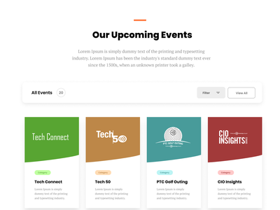 ptc // events page landing page user interface design landing page design iconography minimalism ux ui web clean minimal modern colors vector typography filtering landing  page web design events page events