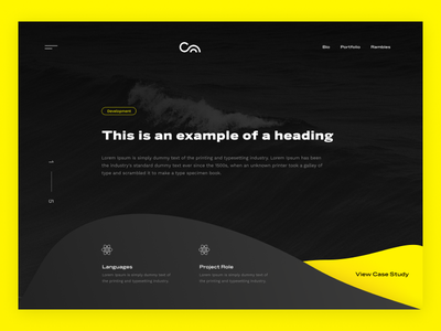 work page concept [early exploration] dark ui organic shapes clean minimal typography case study portfolio page interface design web design ux ui