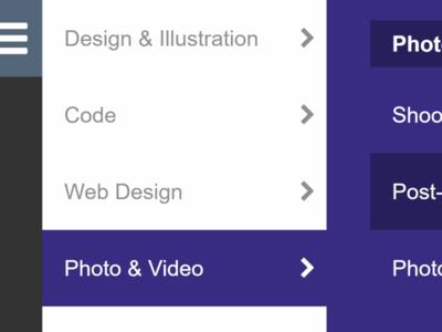 Keyboard Accessible Side Menu Dribble keyboard-accessible mega-menu side navigation side nav menu accessible
