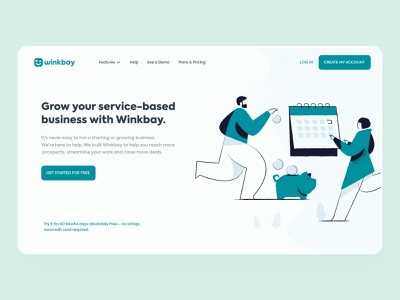 Winkbay | Landing Page website illustration ux design ui